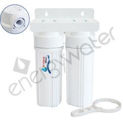 Διπλή φιλτροθήκη 2Μ λευκή πλαστική 10″ - 1/2″ - κλειδί + βάση