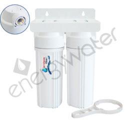 Διπλή φιλτροθήκη 2Μ λευκή πλαστική 10″ - 1/2″ - ορειχάλκινο σπείρωμα - κλειδί + βάση