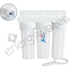 Τριπλή φιλτροθήκη 2Μ λευκή πλαστική 10″ - 1/2″ - κλειδί + βάση