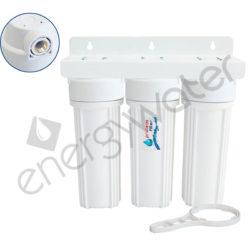 Τριπλή φιλτροθήκη 2Μ λευκή πλαστική 10″ - 1/2″ - ορειχάλκινο σπείρωμα - κλειδί + βάση