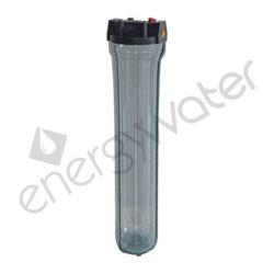 Μονή φιλτροθήκη 2Μ διάφανη πλαστική slim 20″ - 3/4″ με ορειχάλκινο σπείρωμα - σκέτη