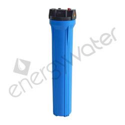 Μονή φιλτροθήκη 2Μ μπλε πλαστική slim 20″ - 1″ με ορειχάλκινο σπείρωμα - σκέτη